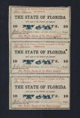 FLORIDA STATE .10¢ UNCUT 1863 Cr # 28 Stock# FL1052C