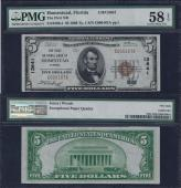 $5.00, FLORIDA, HOMESTEAD, First National Bank Series of 1929 Type 1, PMG 58 CHOICE AU, EPQ. Stock # N038